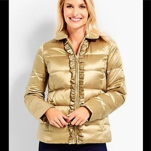 Talbots Gold Ruffle Front The Puffer Down Jacket